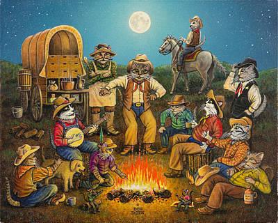 Painting - Kool-kat Kowboy Kampfire by Don Roth