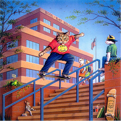 Painting - Kool-kat Skateboarder by Don Roth