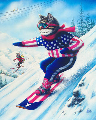 Painting - Kool-kat Snowboarder by Don Roth
