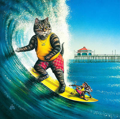 Painting - Kool-kat Surfer by Don Roth