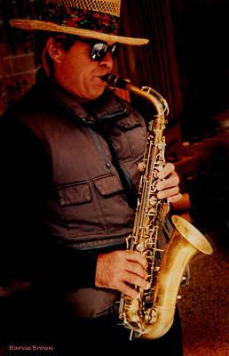 Street Musicians Photograph - Kool Sax by Harvie Brown
