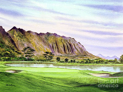 Sports Paintings - Koolau Golf Course Hawaii 16Th Hole by Bill Holkham
