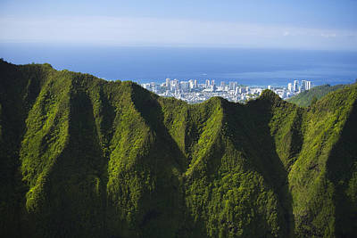 Koolau Mountains And Honolulu Art Print by Dana Edmunds - Printscapes