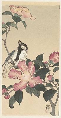 Op Painting - Koolmees Op Tak Met Roze Bloemen by Anonymous