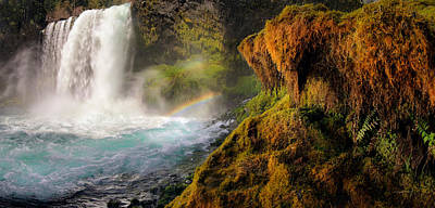 Double Rainbow Photograph - Koosah Falls Panoramic by Leland D Howard
