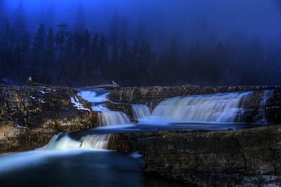 Fall Trees With Stream Photograph - Kootenai Falls - Painting With Light by Robert Hosea