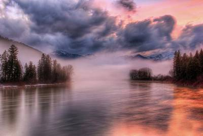 Photograph - Kootenai River And Cabinet Mountains Sunset by Robert Hosea