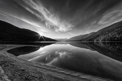 Kootenay Lake Sunrise Black And White Art Print