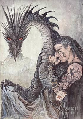 Kor-gat And Black Dragon Art Print by Morgan Fitzsimons