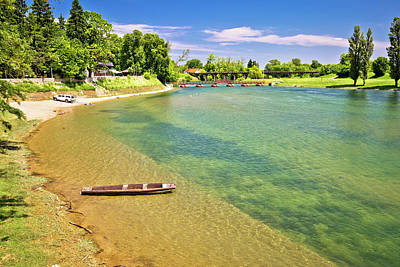 Photograph - Korana River Beach And Wooden Boat by Brch Photography
