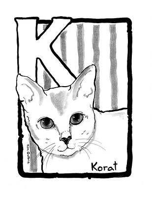 Wall Art - Painting - Korat Cat Drawing by Kim Guthrie