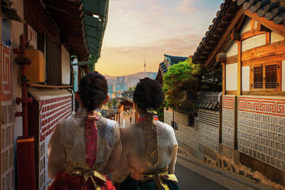 Photograph - Korean Lady In Hanbok And Walk In An Ancient Town by Anek Suwannaphoom