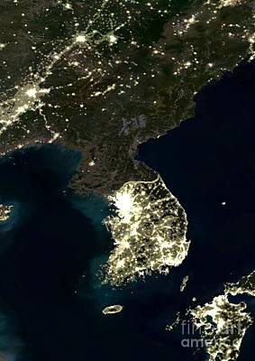 Seoul Photograph - Korean Peninsula by Planet Observer and SPL and Photo Researchers