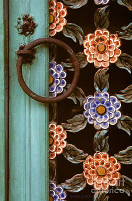 Photograph - Korean Temple Photography - Floral Gate Detail by Sharon Hudson