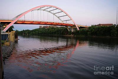 Capital Building In Nashville Tennessee Photograph - Korean Veterans Blvd Bridge Cumberland River Nashville Tennessee by Christopher Boswell