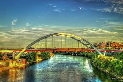 Photograph - Korean Veterans Memorial Bridge 2 Nashville Tennessee Sunset Art by Reid Callaway
