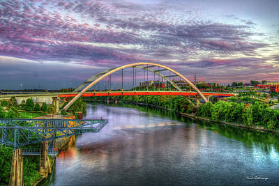 Photograph - Korean Veterans Memorial Bridge Nashville Tennesse Sunset Art by Reid Callaway