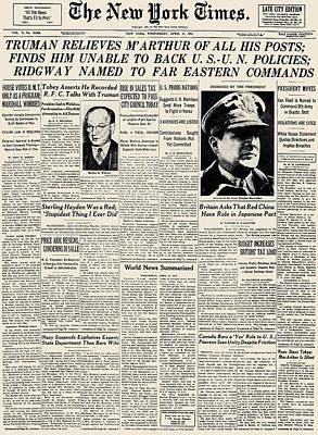 Photograph - Korean War: Headline, 1951 by Granger