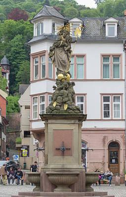 Photograph - Kornmarkdt Madonna Fountain Heidelberg by Teresa Mucha