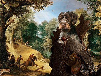 Painting - Korthals Pointing Griffon Art Canvas Print - The Hunters And Lady Falconer by Sandra Sij