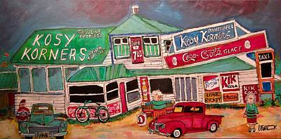 Plage Laval Painting - Vintage Kosy Korners With Fords Plage Laval by Michael Litvack