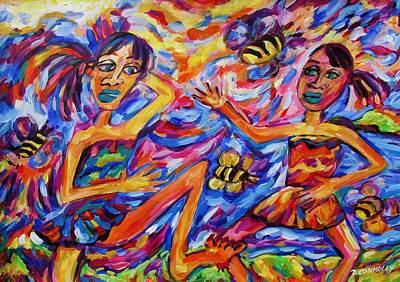Painting - Kotiro Haka Girls Bee Sting by Dianne  Connolly