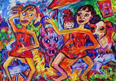 Painting - Kotiro Haka Girls Crumping Barnyard by Dianne  Connolly