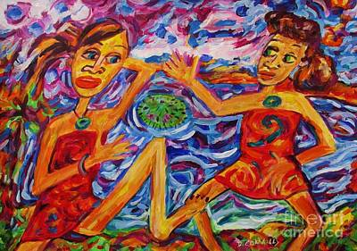 Painting - Kotiro Haka Girls Prickly Kina by Dianne  Connolly