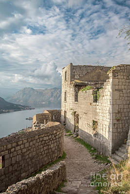 Photograph - Kotor Fortress Ruins Overlooking The Bay by Antony McAulay
