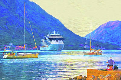 Digital Art - Kotor Harbor by Dennis Cox