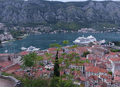 Photograph - Kotor Old Town And Cruise Ship by Phil Banks