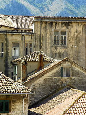 Kotor Rooftops Art Print by Elizabeth Fontaine-Barr