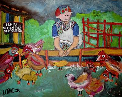 Painting - Kottenberg Farm Feeding The Chickens New Glasgow by Michael Litvack