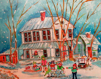 New Glasgow Painting - Kottenberg Hotel New Glasgow Winter Fun by Michael Litvack