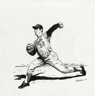 Baseball Uniform Drawing - Koufax by Timothy Ramos