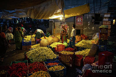 Real Life Photograph - Koyambedu Chennai Flower Market Predawn by Mike Reid