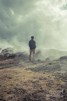 Steaming Photograph -  Krafla Lava Fields by Edward Fielding