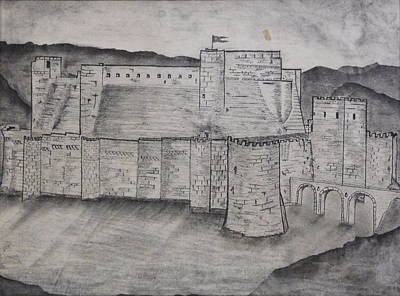 Knights Castle Drawing - Krak Des Chevaliers by Jonathan A