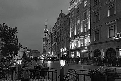 Photograph - Krakow Nights Black And White by Sharon Popek