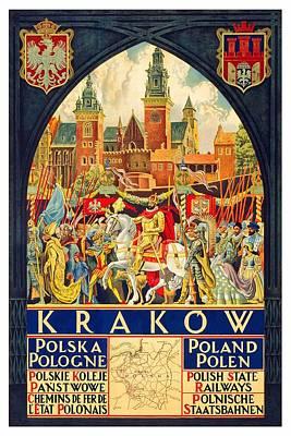 Painting - Krakow Poland - Vintage Travel Poster by Studio Grafiikka