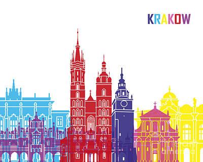 Poland Art Painting - Krakow Skyline Pop by Pablo Romero