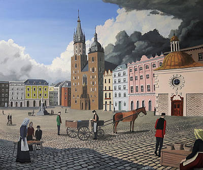 Painting - Krakow Town Square by Dave Rheaume