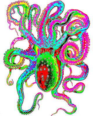 Digital Art - Krazy Kraken by Larry Beat