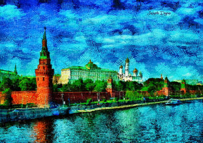 Moscow Digital Art - Kremlin - Da by Leonardo Digenio