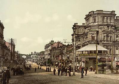 Kiev Photograph - Krestchatik Street In Kiev - Ukraine - Ca 1900 by International Images