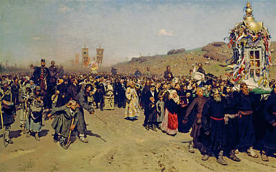 Celebration Painting - Krestny Khod, Religious Procession In Kursk Gubernia by Ilya Repin