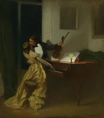 Silk Painting - Kreutzer Sonata by Rene Francois Xavier Prinet