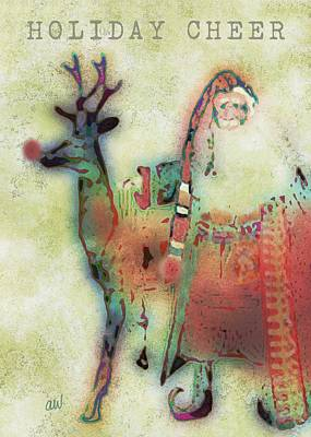 Xmas Cards Digital Art - Kris And Rudolph by Arline Wagner