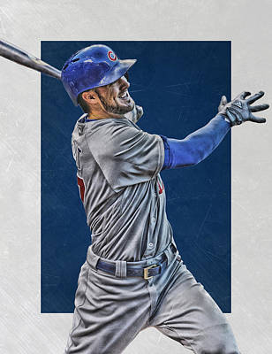 Door Mixed Media - Kris Bryant Chicago Cubs Art 3 by Joe Hamilton