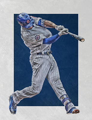 Door Mixed Media - Kris Bryant Chicago Cubs Art 4 by Joe Hamilton